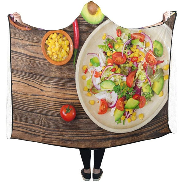 A hoded blanket with a tomato salad plate printed on it - Gag Gifts
