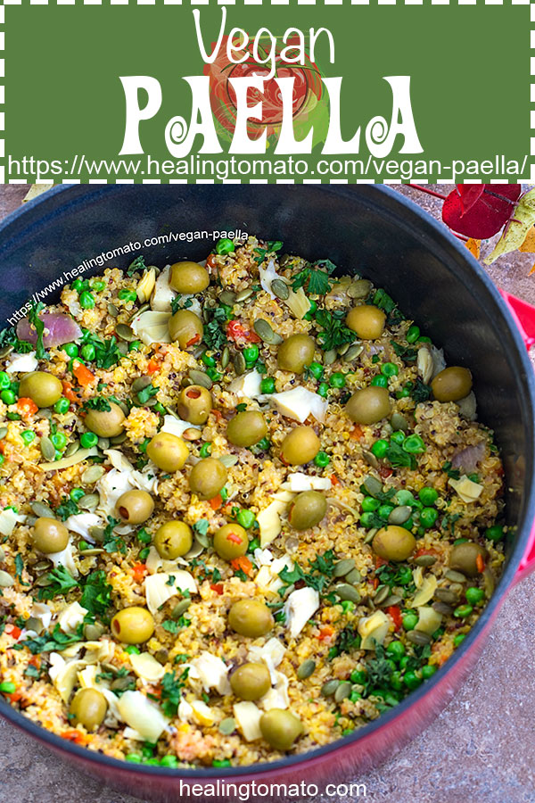 Easy Vegan Paella Recipe made with Quinoa in the Dutch Oven AD #healingtomato #veganpaella https://www.healingtomato.com/vegan-paella/