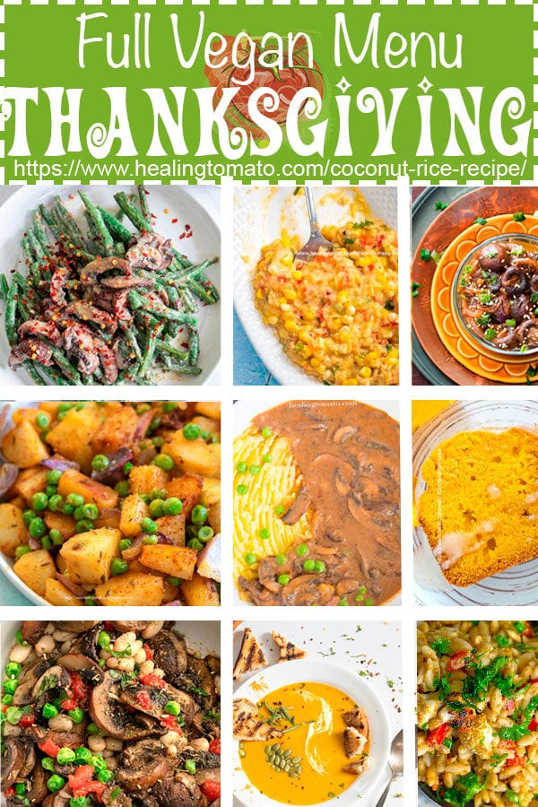 collage of vegan thanksgiving menu recipes