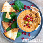 overhead view of muhammara in a bowl with pita chips