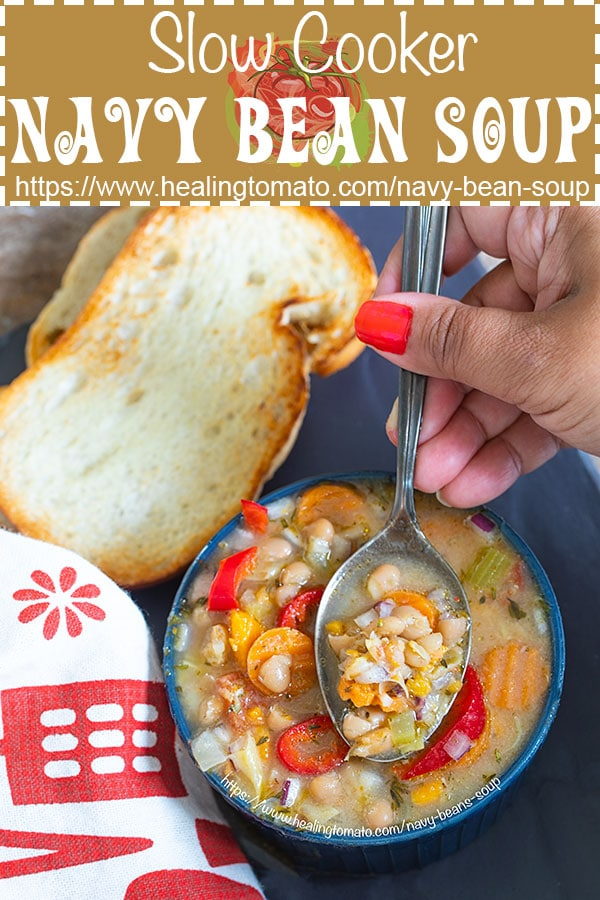 Crock pot vegan navy bean soup is easy to make. Creamy slow cooker navy bean soup with tomatoes #healingtomato #slowcooker