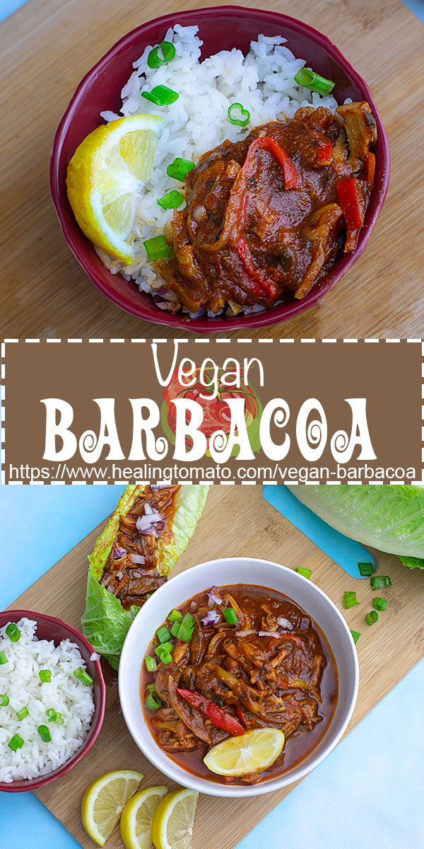 Vegan Barbacoa with jackfruit, mushrooms, red onions, mini sweet peppers and a 3-ingredient vegan barbacoa sauce #healingtomato #barbcacoa