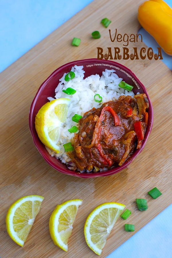 Top view of a bowl with vegan barbacoa sauce over rice