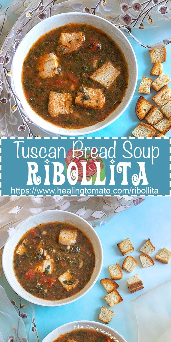 Ribollita - Tuscan Bread Soup that is also gluten free. Made with white beans and spinach AD @UdisGlutenFree #healingtomato #ribollita #udisglutenfree https://www.healingtomato.com/ribollita/