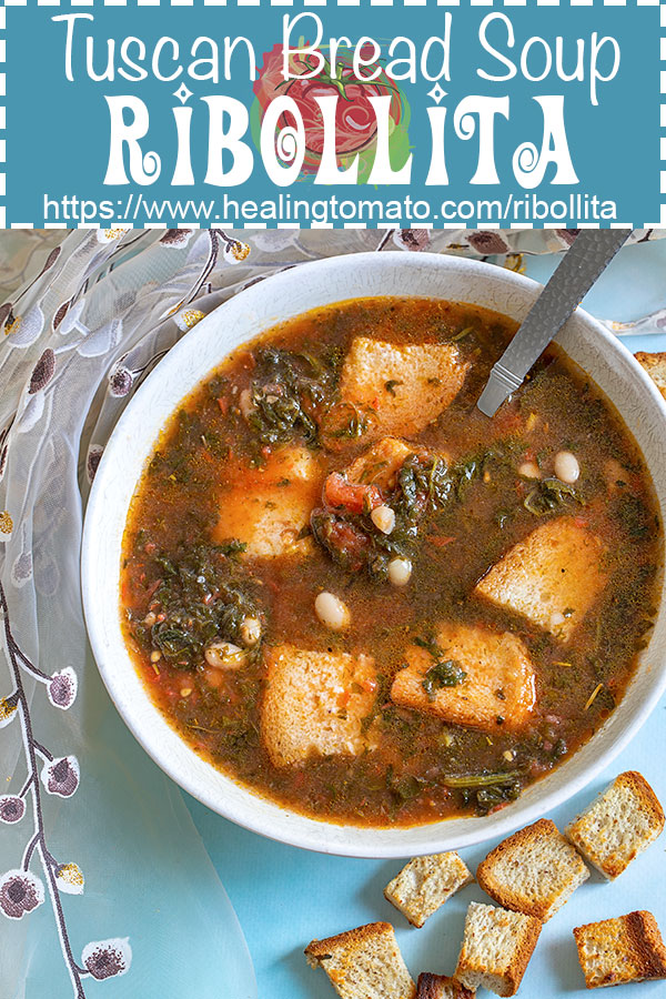 Ribollita - Tuscan Bread Soup - made with veggies, beans and gluten-free bread. AD @UdisGlutenFree #healingtomato #ribollita #udisglutenfree https://www.healingtomato.com/ribollita/