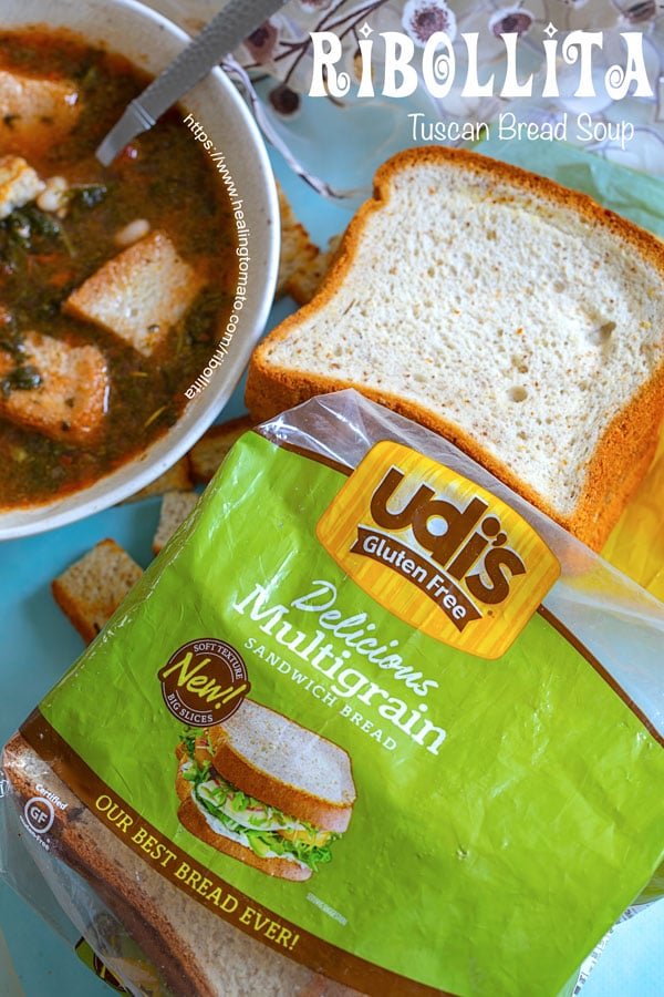 Overhead view of UDI's Gluten Free Bread packaging with soup and bread in the background