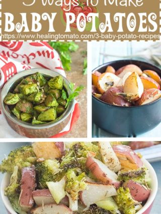 A collage of 3 different roasted baby potato recipes