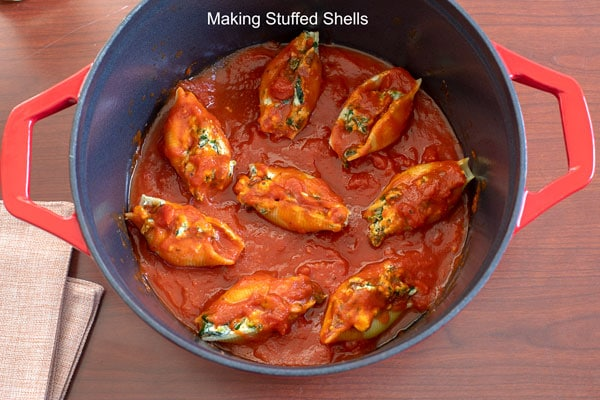 stuffed shells put into the dutch oven