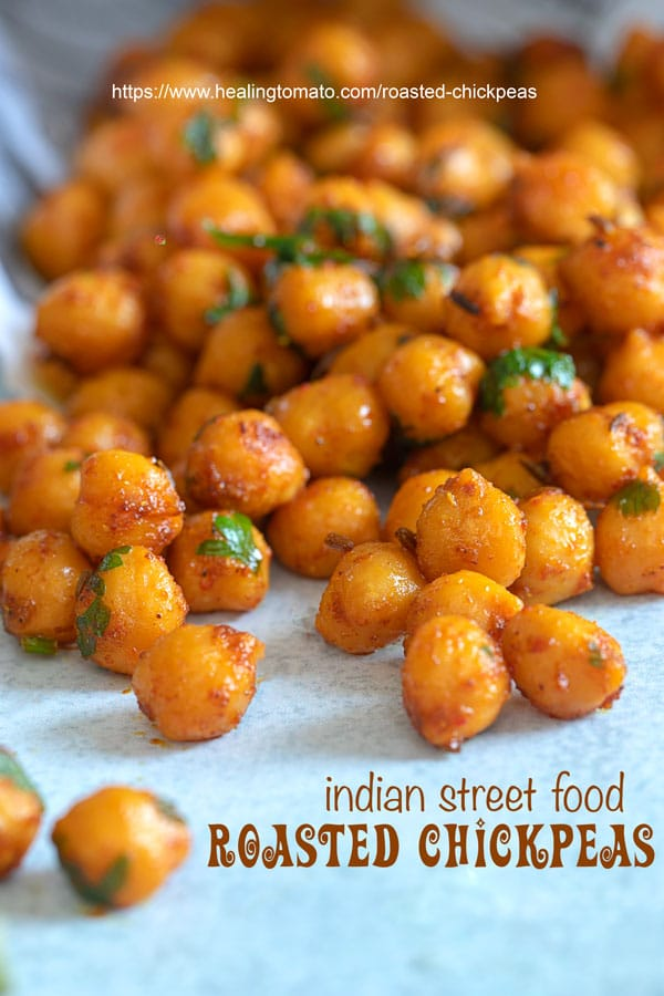 Closeup view of roasted chickpeas - pan fired chickpeas