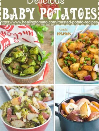A collage of 4 roasted baby potatoes recipe