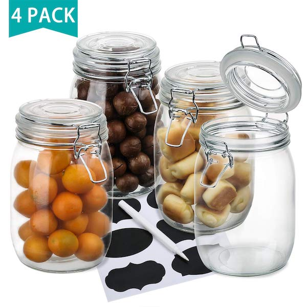 Front view of 4 large mouth mason jars for storing vegan pesto - image from Amazon