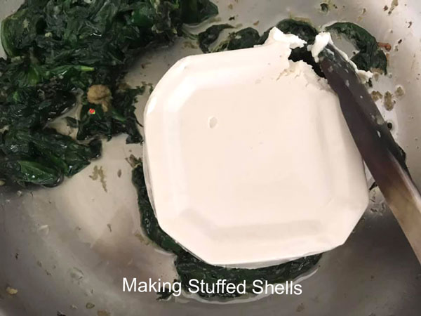 vegan cream cheese added to the pan
