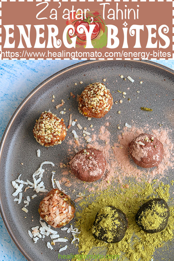 No bake Energy Bites with dates, tahini and za'atar. They are low carb, protein rich and healthy vegan snacks #healingtomato #nobake #energybites #vegan #energyballs #zaatar #tahini