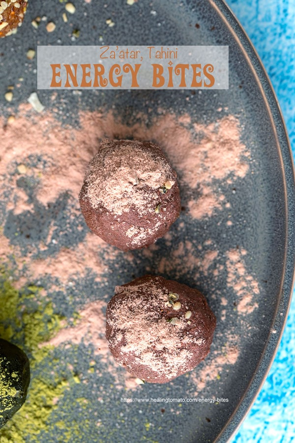 Overhead view of chocolate coated no bake energy bites