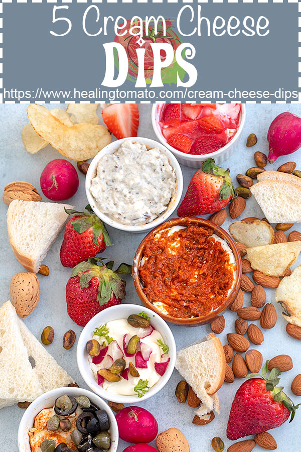 #ad 5 Quick and easy cream cheese dips made with fruits, nuts and veggies. Serve with bagel chips and take them with you while you are on-the-go. #healingtomato #dips #creamcheese #fruits