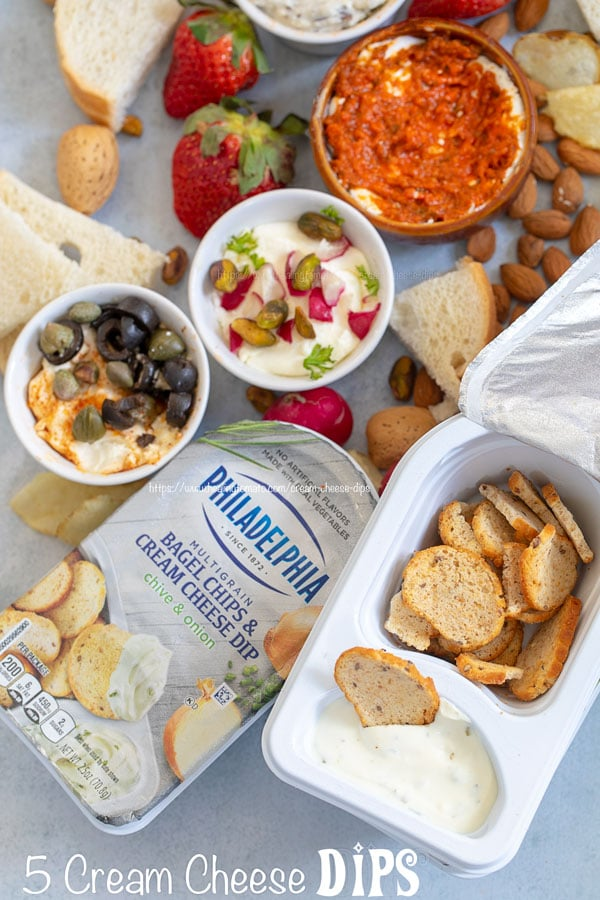Overhead view of cream cheese dips with Philadelphia bagel and cream cheese package on the side