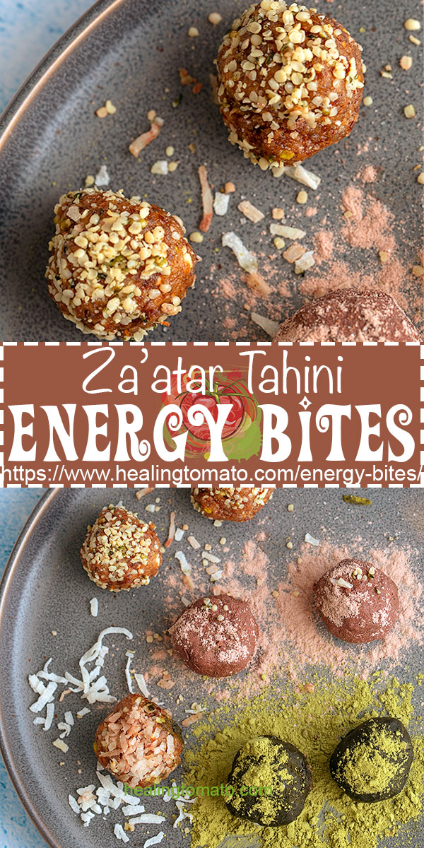 Healthy Energy Bites is are no bake vegan snacks made with dates, za'atar and tahini #healingtomato #energybites #energyballs #nobake #snacks #vegan @healingtomato