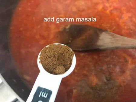 garam masala added to pan