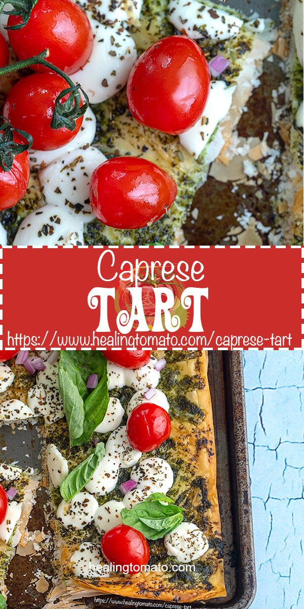 Looking for quick vegetarian Caprese recipes to make for brunch or lunch? These Caprese tarts are so easy to make and eat #healingtomato #tarts #tomatotart #appetizers #brunch #vegetarian #capresesalad @healingtomato