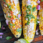top and closeup view of grilled corn on the cob