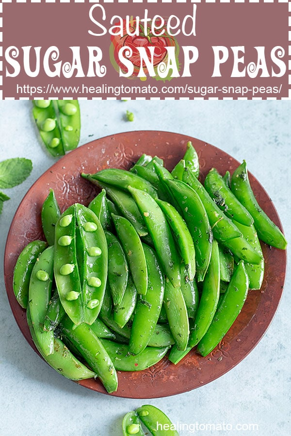 Healthy Sauteed Sugar Snap Peas that are crunchy and perfect picnic food or a side dish #healingtomato #picnicfood #portablefood #sidedish #sugarsnappeas #veganside #sauteedpeas @healingtomato
