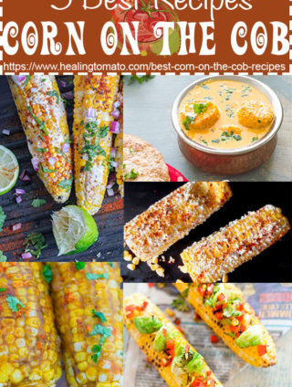 Collage of 5 different corn on the cob images