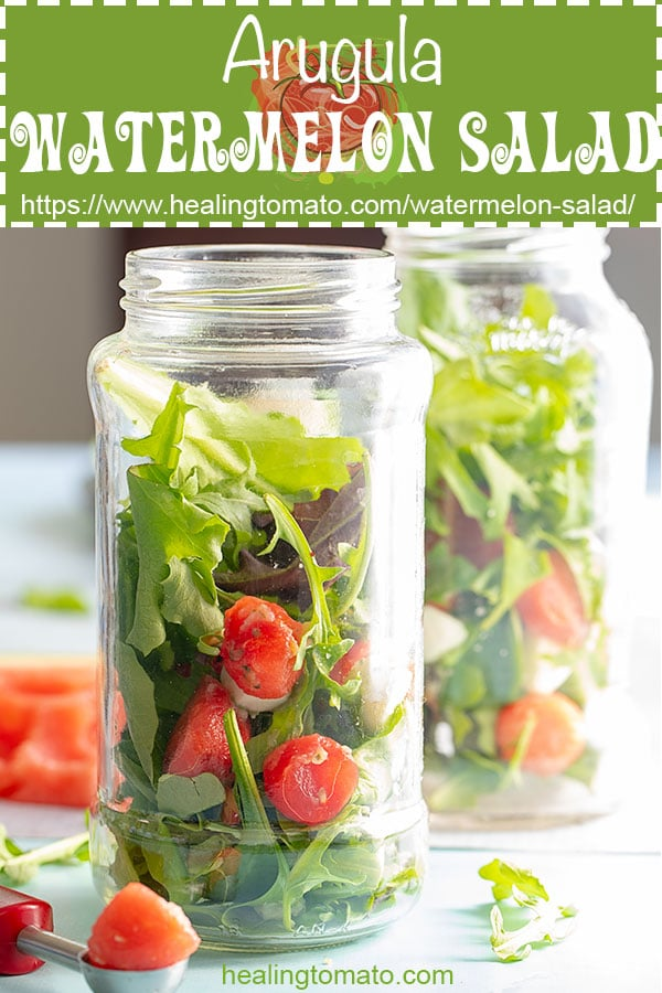 Looking for picnic salads you can take to picnics?  This vegetarian watermelon salad with arugula is super easy to make and can be taken in mason jars #healingtomato #picnic #vegetarian  #saladrecipes #melonsalads #masonjarsalads @healingtomato
