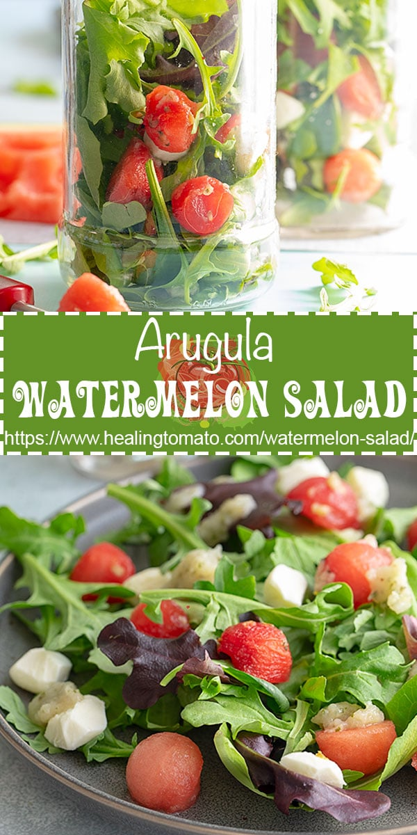 This arugula watermelon salad takes than 10 minutes to make.  Topped with a homemade pear salad dressing #healingtomato #picnicfood #picnicrecipes #saladrecipes #melonsalads #masonjarsalads @healingtomato