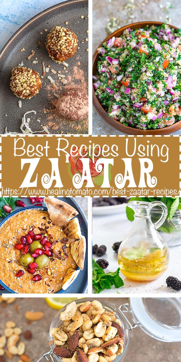 Looking for easy Za'atar recipes to make? This list has Za'atar Snacks, appetizers, salads and salad dressing recipes using za'atar spice #healingtomato #zaatar #spice #collection #vegan @healingtomato
