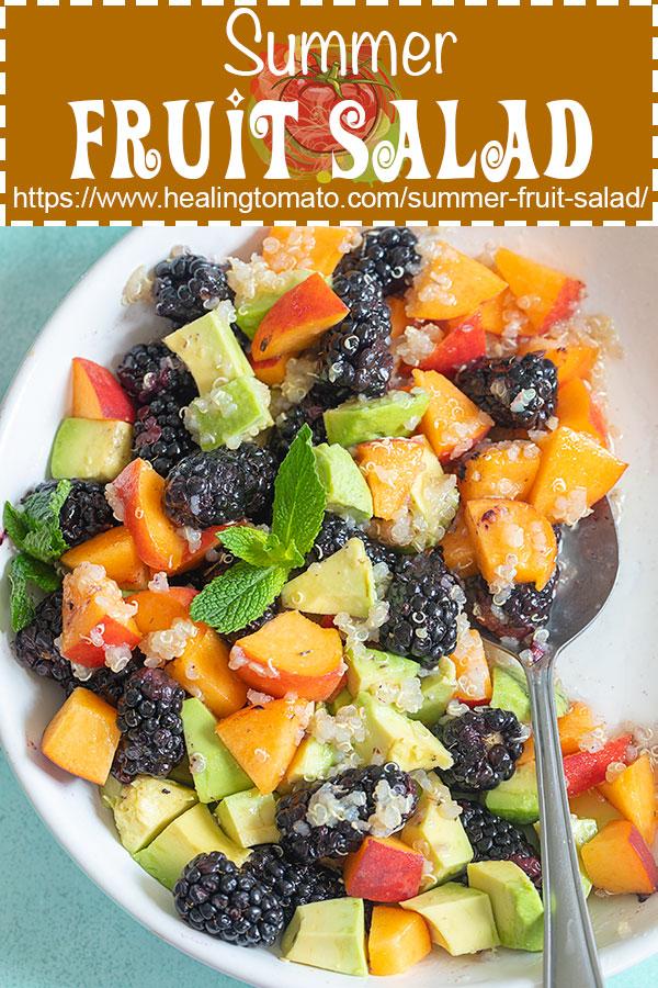 Easy summer fruit salad recipe with mint dressing and quinoa #healingtomato #fruitsalad #summersalad #quinoa #vegan @healingtomato