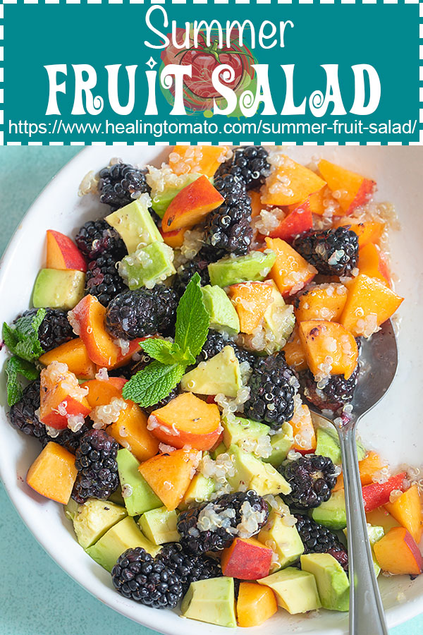 Quinoa fruit salad with blackberries, peaches and avocado mixed with a light mint vinaigrette #healingtomato #quinoasalad #blackberries #vegansalad #quinoarecipes @healingtomato