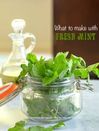 Front view of a mason jar filled with fresh mint