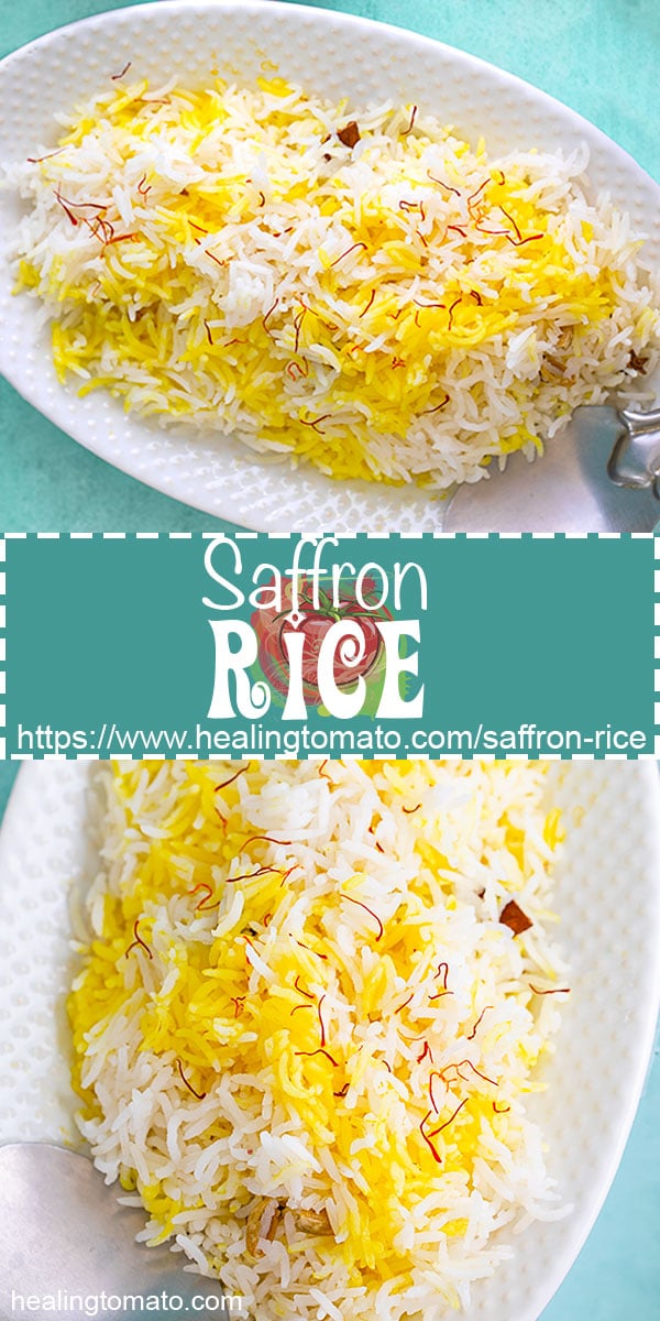 Vegan Saffron Rice is very easy to make using Spanish saffron #healingtomato #saffronrice #saffronrecipes #veganrice #basmati #sides @healingtomato