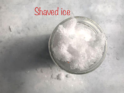 Shaved Ice Cubes in a glass jar - Frozen Hot Chocolate