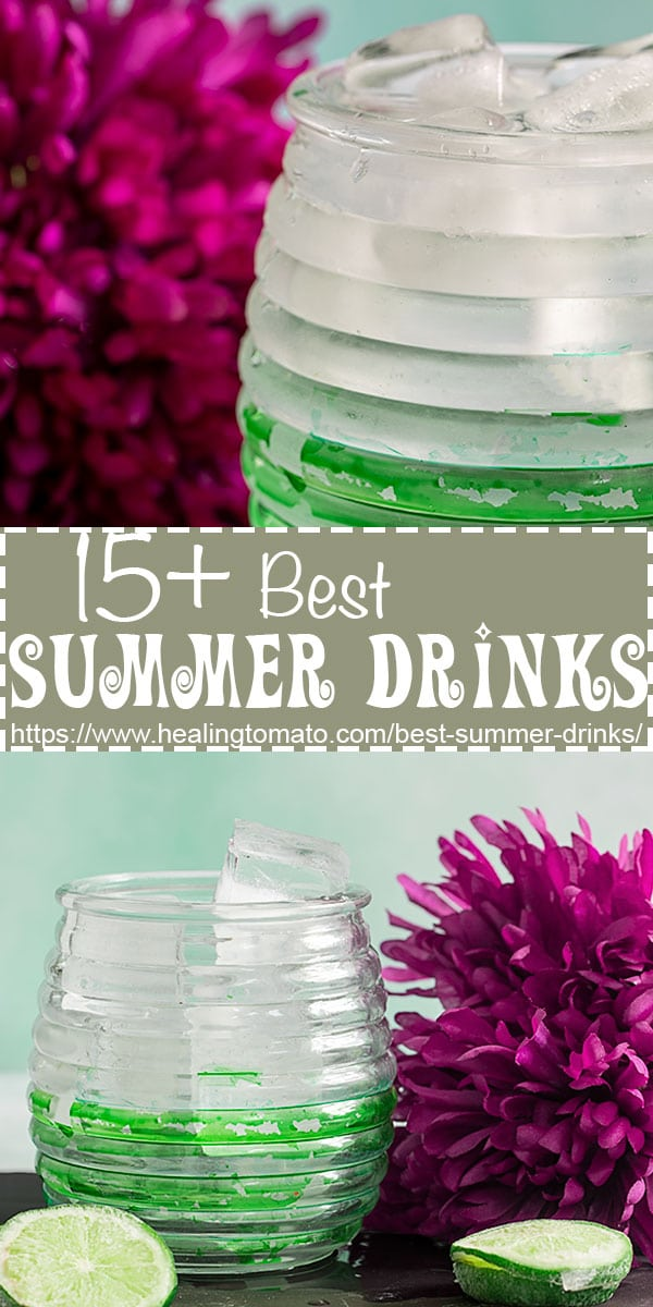 A collection of 15+ cool and refreshing summer drinks made with fruits, yogurt, lemon, lime, and so much more #healingtomato #mocktail #kiwi #spritzer #drinks @healingtomato
