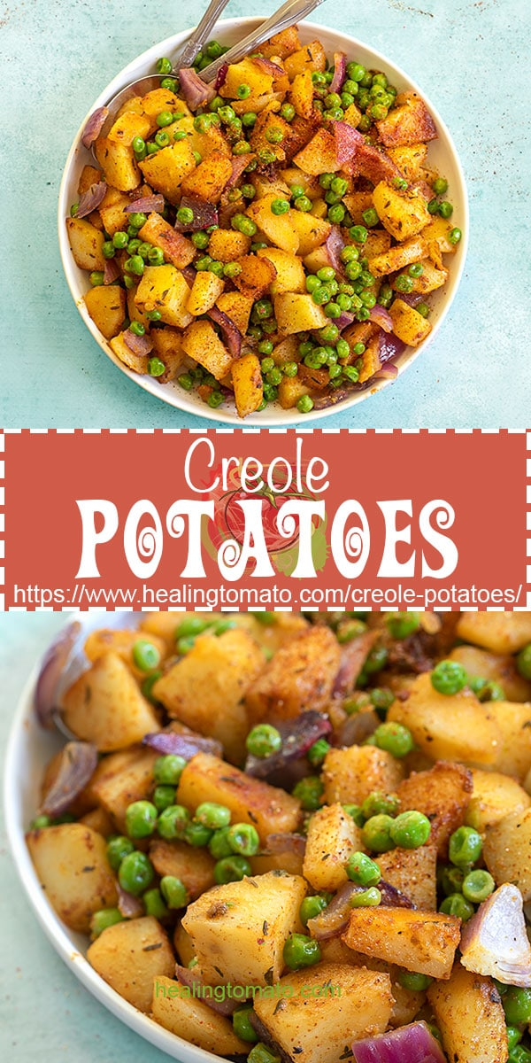 Looking for more vegan side dishes?  These easy Creole potatoes and peas are made in the Dutch Oven with just a few ingredients #healingtomato #creolerecipes #dutchoven #potatoes #peasrecipes @healingtomato