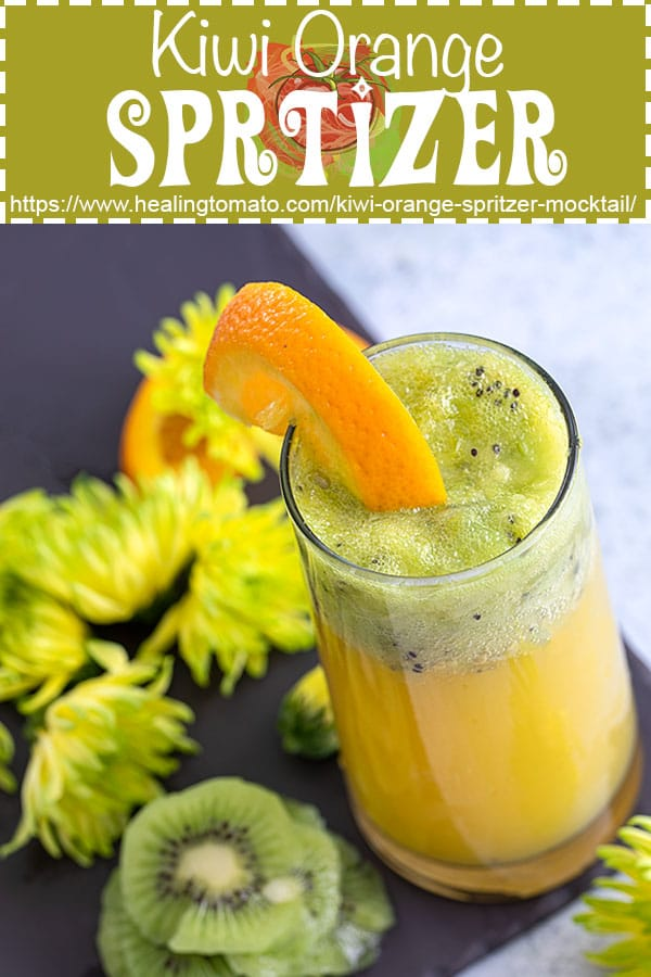 A simple kiwi-orange sprtizer mocktail made with 4 ingredients is ready in 5 minutes #healingtomato #mocktail #kiwi #spritzer #drinks
