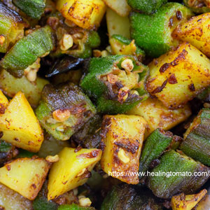 Closeup view of okra and potatoes