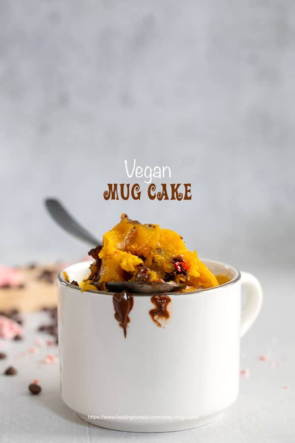 Front view of a spoon filled with pumpkin and chocolate chip cake on top of the rim of a mug