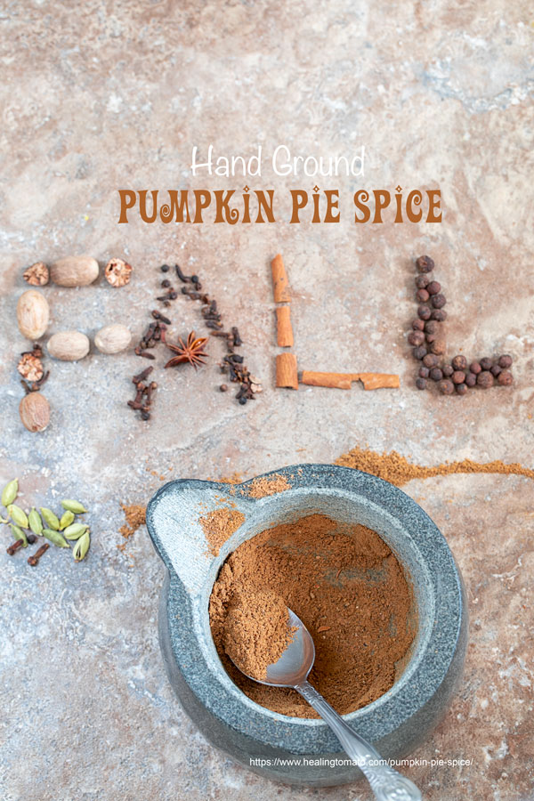 "closeup view of ground pumpkin spice in a mortar and pestle with the words ""FALL"" written out with ingredients"