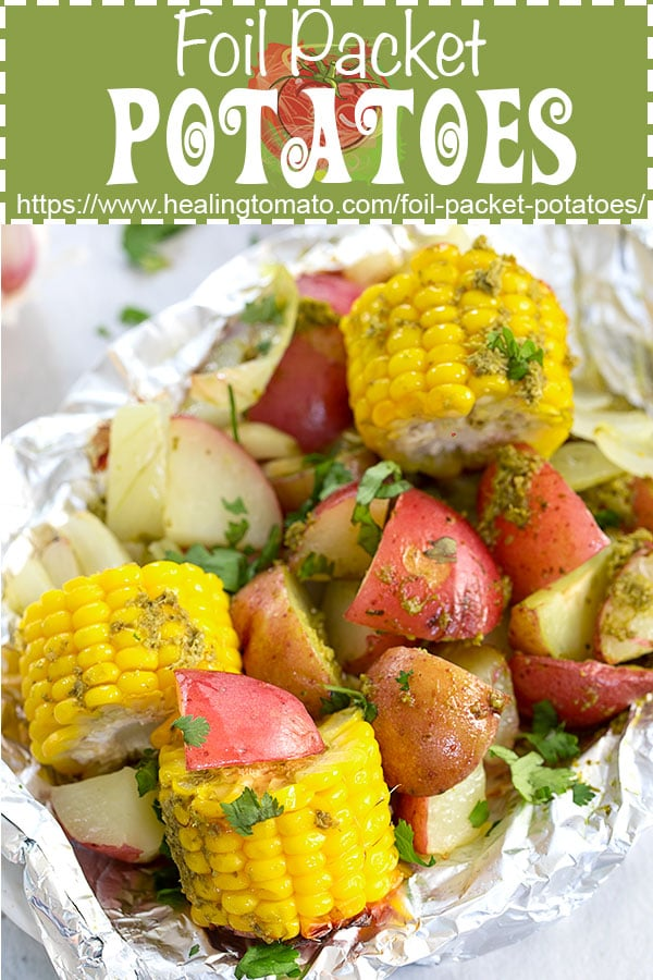 Easy Foil packet potatoes for the grill, campfires and even the oven. #healingtomato #foilpacket #potatoes #grilling #vegan #veganrecipes #camping @healingtomato