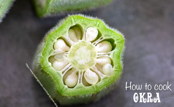 Closeup and crossection of an okra with fuzz visible