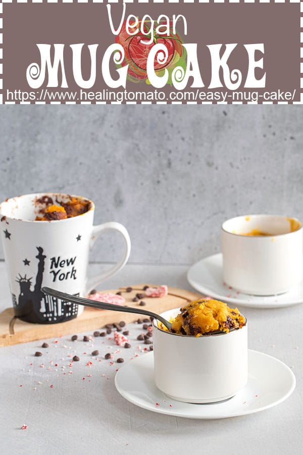 Pumpkin mug cake that is dairy-free made with hazelnut milk and vegan chocolate chips #healingtomato #vegan #mugcake #vegancake #desserts @healingtomato