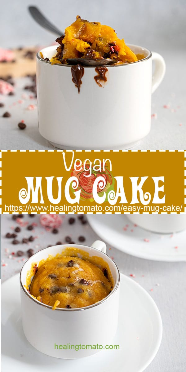 Easy vegan mug cake made with pumpkin and chocolate chips #healingtomato #mugcake #vegan #vegandesserts @healingtomato