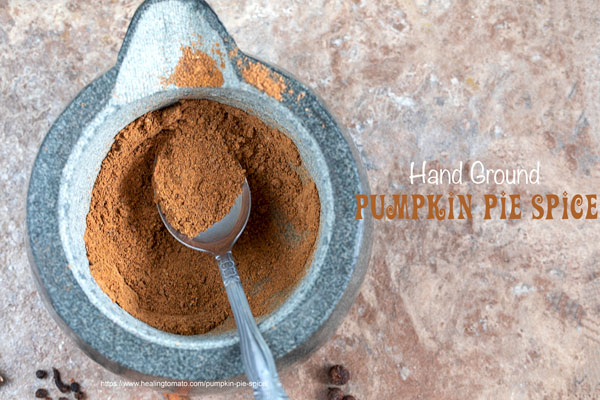 closeup view of ground pumpkin spice in a mortar and pestle