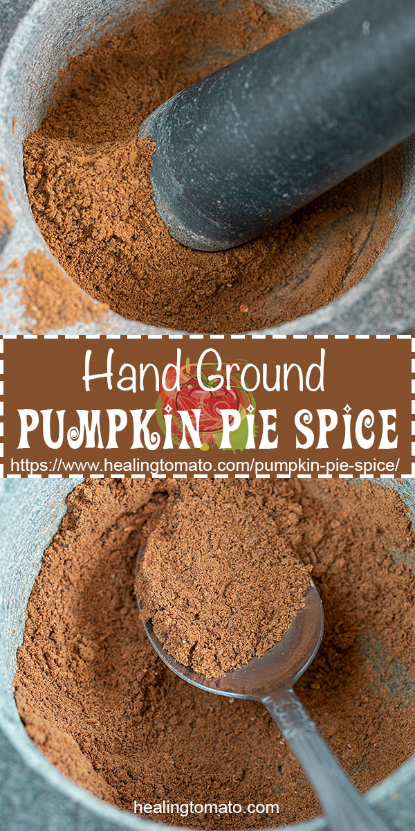 Make your own pumpkin pie spice at home using easy ingredients. Use a mortar and pestle instead of a blender for a more aromatic spice #healingtomato #mortarandpestle #spices #homemadespices #fallspices #pumpkinpie #howto @healingtomato