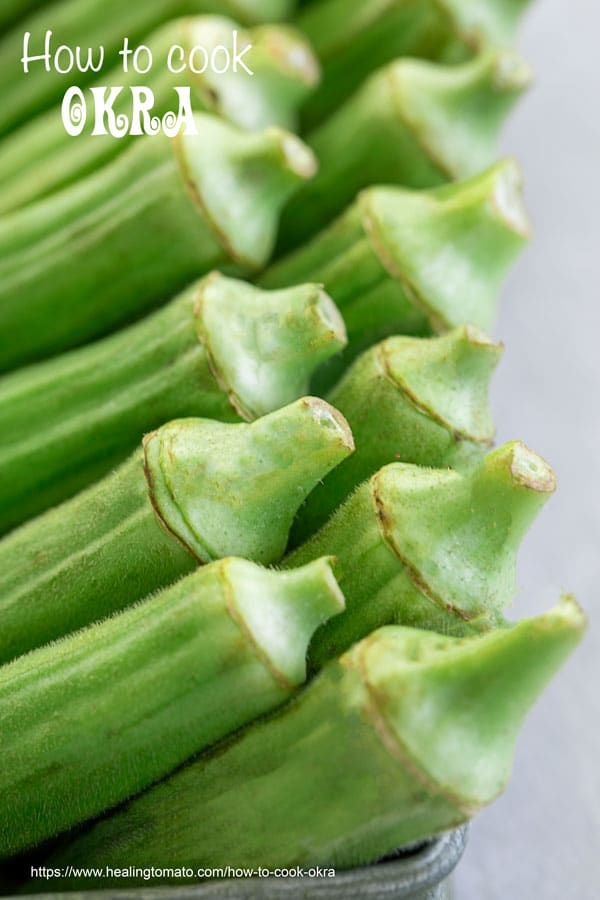 Closeup view of 2 rows of okra