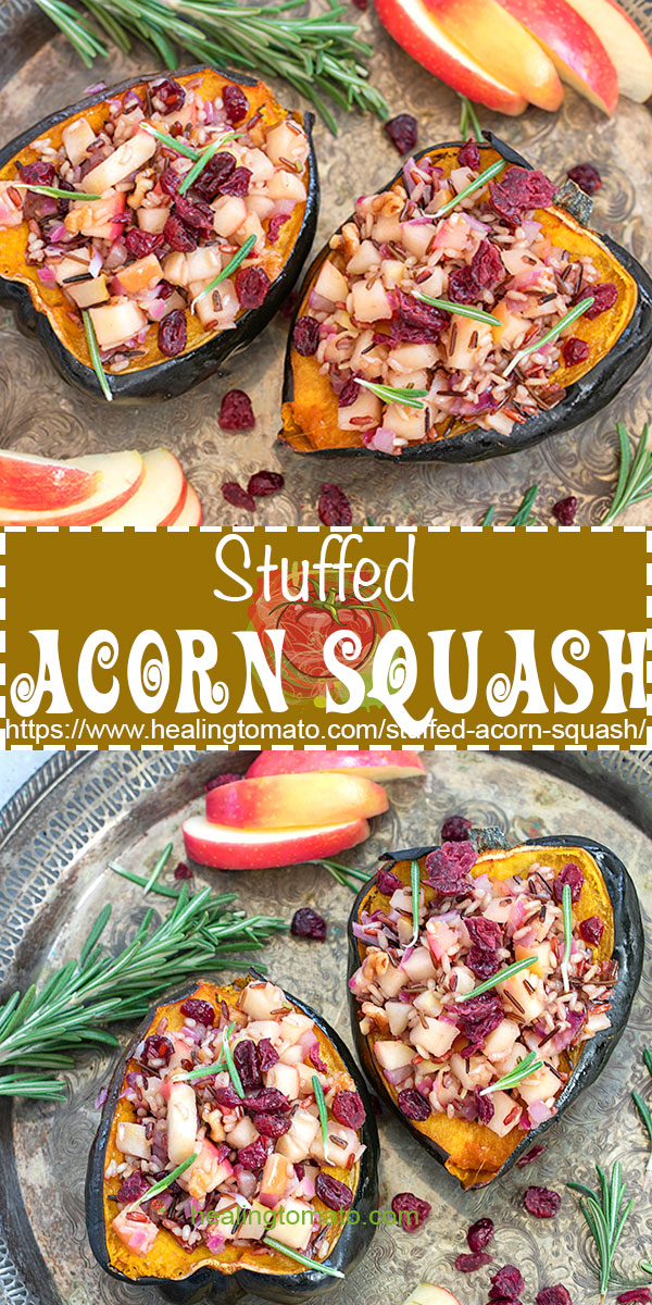 Looking for healthy vegan thanksgiving recipes?  This stuffed acorn squash is a delicious side dish to make this holiday season #healingtomato #vegansides #thanksgivingsides #stuffedacron #healthyrecipes @healingtomato