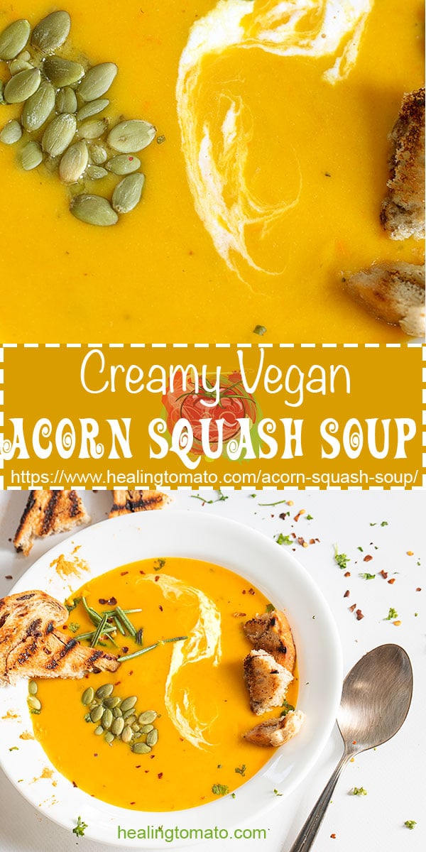 Easy and healthy vegan acorn squash soup with carrots #healingtomato #soups #vegansoup #acornsquashsoup #fallsoup #autumnsoups #veganrecipes @healingtomato