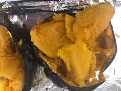 pulp scooped out of roasted acorn squash